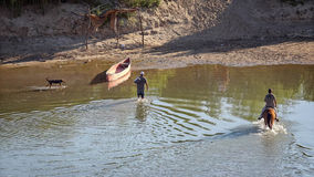 Illegal Mexican Immigrants Cross Rio Grande River Back Into Mexi Stock Image