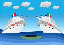 Illegal migrants on lifeboat Royalty Free Stock Photography