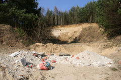 Illegal mining. Illegal extraction of natural aggregates causing environmental devastation royalty free stock photos