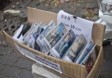 Illegal movie selling on street. Many illegal movie selling very cheap on the street in bangkok Stock Photography