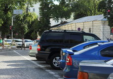 Illegal parking in a crosswalk Stock Photos