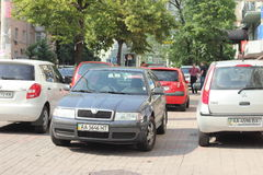 Illegal parking on pavement Royalty Free Stock Photography