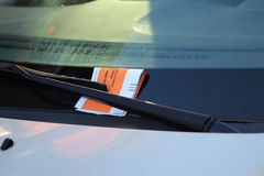 Illegal Parking Violation Citation On Car Windshield in New York Royalty Free Stock Images