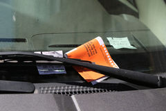 Illegal Parking Violation Citation On Car Windshield in New York Stock Images