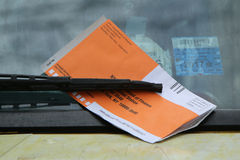 Illegal Parking Violation Citation On Car Windshield in New York Stock Photo