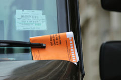 Illegal Parking Violation Citation On Car Windshield in New York. NEW YORK - MARCH 10, 2016: Illegal Parking Violation Citation On Car Windshield in New York Stock Photography