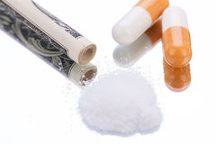 Illegal pharmaceutical pills and drugs money Stock Photography