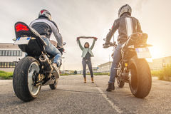 Illegal race. Two motorbikes making a race on the street Royalty Free Stock Photography