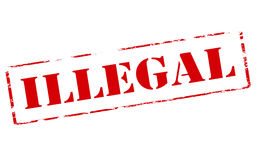 Illegal. Rubber stamp with word illegal inside, illustration vector illustration