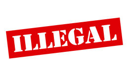 Illegal. Rubber stamp with word illegal inside, illustration royalty free illustration