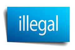 Illegal sign. Illegal square paper sign isolated on white background. illegal button. illegal stock illustration