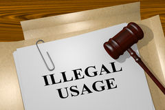 Illegal Usage - legal concept. 3D illustration of `ILLEGAL USAGE` title on legal document stock illustration