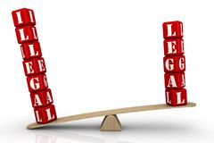 It is illegal. The words ILLEGAL and LEGAL made from red cubes with letters are weighed in the balance. The word ILLEGAL outweighs the word LEGAL. Isolated. 3D stock illustration