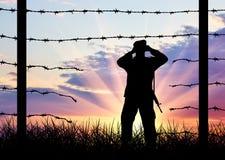 Illegale immigratie van vluchtelingen royalty-vrije stock afbeeldingen