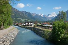 Iller river, flowing through tourist resort oberstdorf royalty free stock images