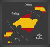 Illes Balears map with Spanish national flag illustration Stock Images
