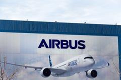 Airbus logo on Airbus building stock photos