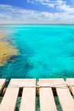 Illeta wooden pier turquoise sea Formentera Stock Photography