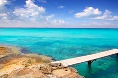 Illeta wooden pier turquoise sea Formentera Royalty Free Stock Image