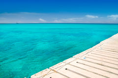 Illeta wooden pier turquoise sea Formentera Royalty Free Stock Photography