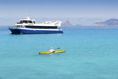 Illetas turquoise sea kayak Formentera boat Stock Images