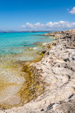 Illetes beach in Formentera island, Mediterranean sea Royalty Free Stock Photos