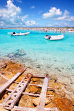 Illetes beach in Formentera island in summer Royalty Free Stock Images