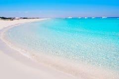 Illetes Formentera East beach tropical turquoise. Illetes Formentera East tanga beach with tropical turquoise Mediterranean sea Stock Photo