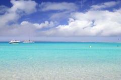 Illetes illetas formentera beach boats anchor Stock Photo