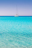 Illetes illetas formentera beach boats anchor Royalty Free Stock Photography