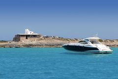 Illetes salt windmill from sea view Formentera Royalty Free Stock Photography