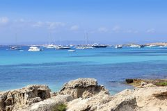 Illetes view from Savina port Formentera Royalty Free Stock Photo