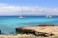 Illetes view from Savina port Formentera Royalty Free Stock Photography