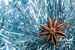 Illicium verum in blue tinsel. And bokeh Royalty Free Stock Photos