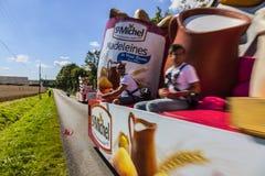 Publicitethusvagnuppgift Le Tour De France Arkivfoton