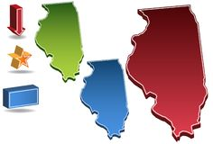 Illinois 3D. Set of 3D images of the State of Illinois with icons Stock Images