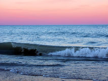 Illinois Beach State Park. Waves under a beautiful Lake Michigan sunset at Illinois Beach State Park Royalty Free Stock Images