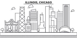 Illinois, Chicago architecture line skyline illustration. Linear vector cityscape with famous landmarks, city sights Stock Images