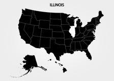 illinois Estados de território de América no fundo cinzento Estado separado Ilustração do vetor