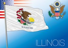 Illinois federal state flag, United States. Vector illustration and us coat of arms vector illustration