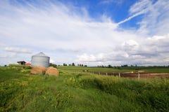 Illinois-Feld mit Silo- und Heuballen Stockfoto