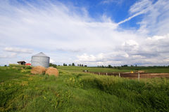 Illinois field with silo and hay bale Stock Photo