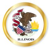 Illinois Flag Button. Illinois state flag button with a gold metal circular border over a white background Royalty Free Stock Photos