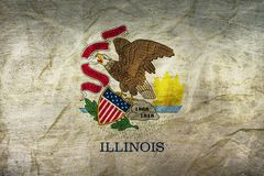 Illinois Flag on Paper. Flag on an old Paper Texture Royalty Free Stock Photography