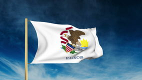 Illinois flag slider style. Waving in the win with. Illinois flag slider style. Waving with cloud background animation stock footage
