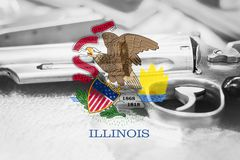 Illinois flag U.S. state Gun Control USA. United States. Gun Laws Royalty Free Stock Photos