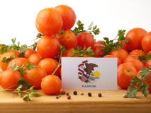 Illinois flag on a wooden panel with tomatoes isolated on a whit Stock Images