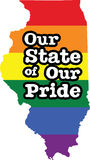 Illinois gay pride vector state sign. LGBT community pride vector U.S. state decal: easy-edit layered vector EPS10 file scalable to any size without quality loss stock illustration