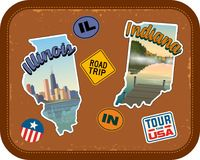 Illinois and Indiana travel stickers with scenic attractions. And retro text on vintage suitcase background Royalty Free Stock Image
