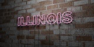ILLINOIS - Insegna al neon d'ardore sulla parete del lavoro in pietra - 3D ha reso l'illustrazione di riserva libera della sovran Fotografia Stock Libera da Diritti
